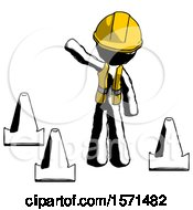 Ink Construction Worker Contractor Man Standing By Traffic Cones Waving
