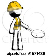 Ink Construction Worker Contractor Man Frying Egg In Pan Or Wok Facing Right