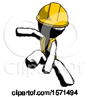 Ink Construction Worker Contractor Man Action Hero Jump Pose