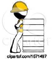 Ink Construction Worker Contractor Man Resting Against Server Rack