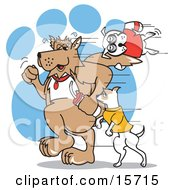 Poster, Art Print Of Two Dogs Running While Exercising As Another Dog Hangs Onto One Of The Dog Tails