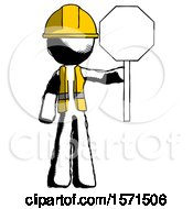 Ink Construction Worker Contractor Man Holding Stop Sign