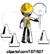 Ink Construction Worker Contractor Man Holding Stop Sign By Traffic Cones Under Construction Concept
