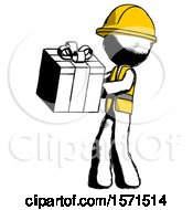 Ink Construction Worker Contractor Man Presenting A Present With Large Red Bow On It