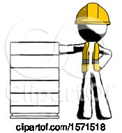 Ink Construction Worker Contractor Man With Server Rack Leaning Confidently Against It