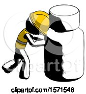 Ink Construction Worker Contractor Man Pushing Large Medicine Bottle