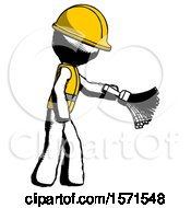 Ink Construction Worker Contractor Man Dusting With Feather Duster Downwards