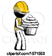 Ink Construction Worker Contractor Man Holding Large Cupcake Ready To Eat Or Serve