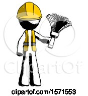Ink Construction Worker Contractor Man Holding Feather Duster Facing Forward