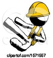 Ink Construction Worker Contractor Man Flying Ninja Kick Left