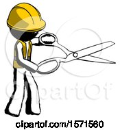 Ink Construction Worker Contractor Man Holding Giant Scissors Cutting Out Something
