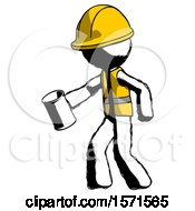 Ink Construction Worker Contractor Man Begger Holding Can Begging Or Asking For Charity Facing Left