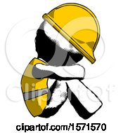 Ink Construction Worker Contractor Man Sitting With Head Down Facing Sideways Right