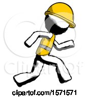 Ink Construction Worker Contractor Man Running Fast Right