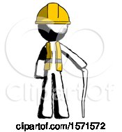 Ink Construction Worker Contractor Man Standing With Hiking Stick