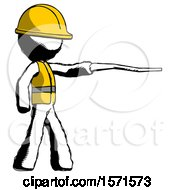 Ink Construction Worker Contractor Man Pointing With Hiking Stick