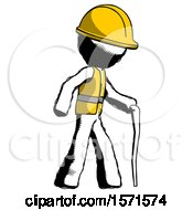 Ink Construction Worker Contractor Man Walking With Hiking Stick