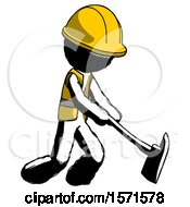 Ink Construction Worker Contractor Man Striking With A Red Firefighters Ax