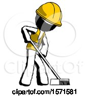 Ink Construction Worker Contractor Man Cleaning Services Janitor Sweeping Side View