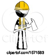 Ink Construction Worker Contractor Man Holding Red Fire Fighters Ax