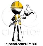 Ink Construction Worker Contractor Man Holding Jester Diagonally