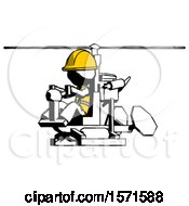 Ink Construction Worker Contractor Man Flying In Gyrocopter Front Side Angle View