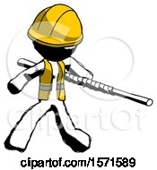 Ink Construction Worker Contractor Man Bo Staff Action Hero Kung Fu Pose