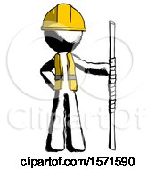 Ink Construction Worker Contractor Man Holding Staff Or Bo Staff