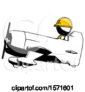 Ink Construction Worker Contractor Man In Geebee Stunt Aircraft Side View