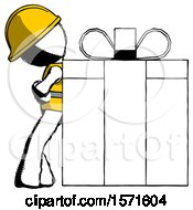 Ink Construction Worker Contractor Man Gift Concept Leaning Against Large Present