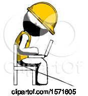 Ink Construction Worker Contractor Man Using Laptop Computer While Sitting In Chair View From Side
