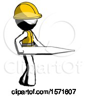 Ink Construction Worker Contractor Man Walking With Large Thermometer