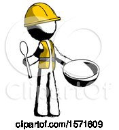 Ink Construction Worker Contractor Man With Empty Bowl And Spoon Ready To Make Something