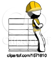 Ink Construction Worker Contractor Man Resting Against Server Rack Viewed At Angle