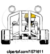 Ink Construction Worker Contractor Man Riding Sports Buggy Front View