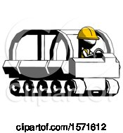 Ink Construction Worker Contractor Man Driving Amphibious Tracked Vehicle Side Angle View