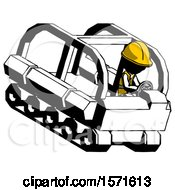 Ink Construction Worker Contractor Man Driving Amphibious Tracked Vehicle Top Angle View