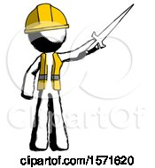 Ink Construction Worker Contractor Man Holding Sword In The Air Victoriously