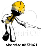 Ink Construction Worker Contractor Man Sword Pose Stabbing Or Jabbing