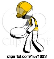 Ink Construction Worker Contractor Man Walking With Large Compass