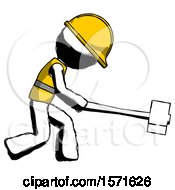 Ink Construction Worker Contractor Man Hitting With Sledgehammer Or Smashing Something