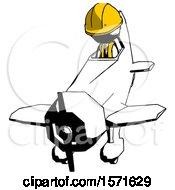 Ink Construction Worker Contractor Man In Geebee Stunt Plane Descending Front Angle View