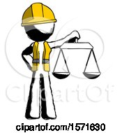 Ink Construction Worker Contractor Man Holding Scales Of Justice