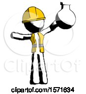 Ink Construction Worker Contractor Man Holding Large Round Flask Or Beaker
