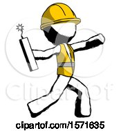 Ink Construction Worker Contractor Man Throwing Dynamite