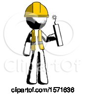 Ink Construction Worker Contractor Man Holding Dynamite With Fuse Lit