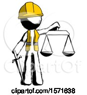 Ink Construction Worker Contractor Man Justice Concept With Scales And Sword Justicia Derived