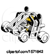 Ink Construction Worker Contractor Man Riding Sports Buggy Side Top Angle View