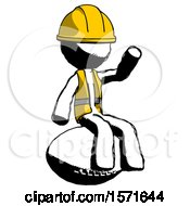 Ink Construction Worker Contractor Man Sitting On Giant Football