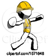 Ink Construction Worker Contractor Man Throwing Football